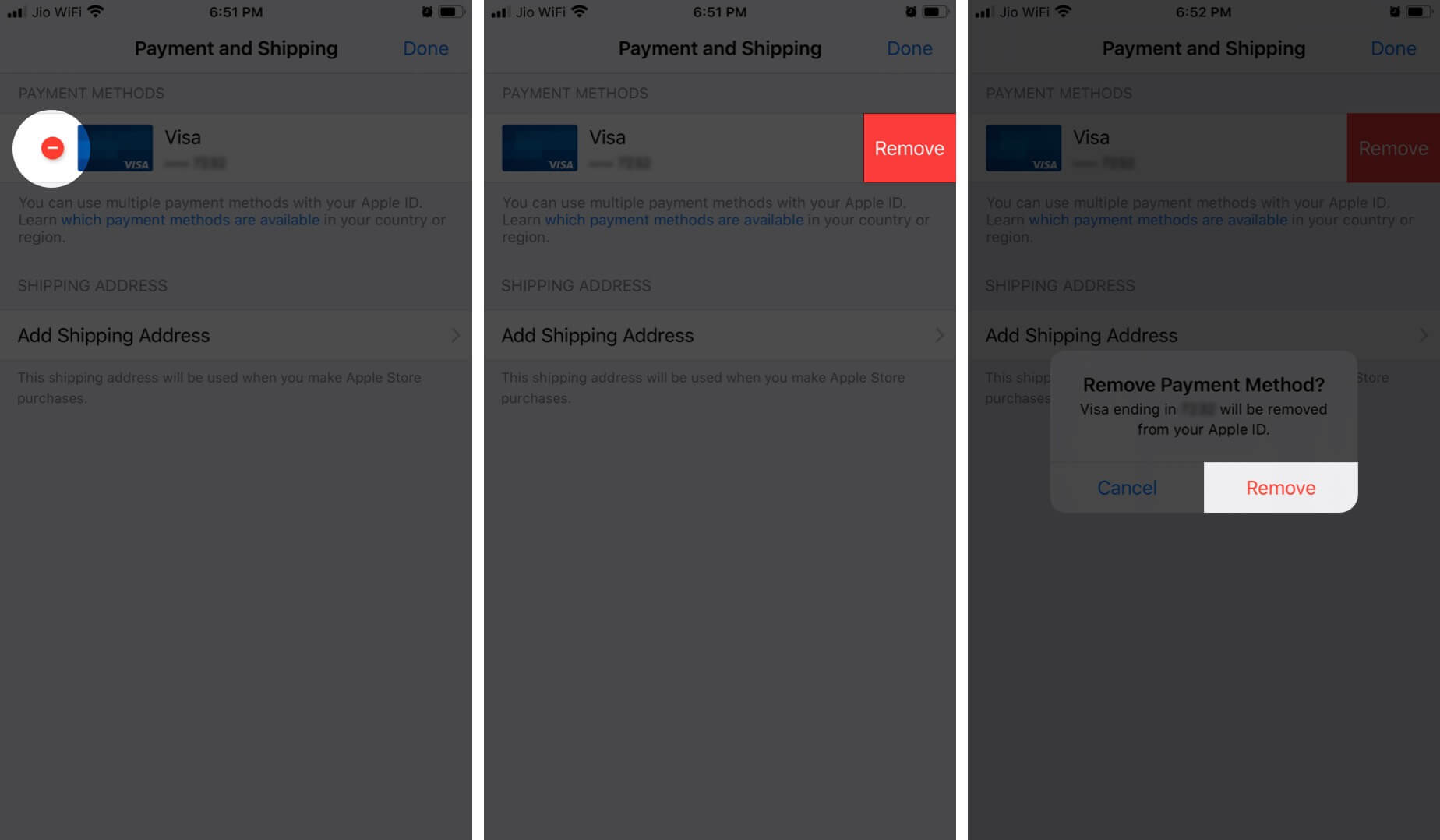 Tap on Remove to Delete Apple ID and Payment Method on iPhone