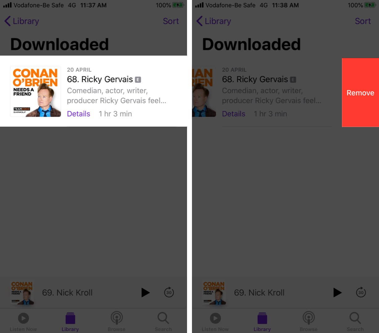 Tap on Remove to Delete Downloaded Episodes in Podcast on iPhone