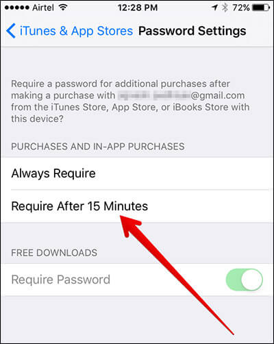 Tap on Required After 15 Minutes in Password Settings in iOS 10 on iPhone