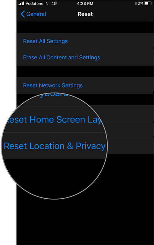 Tap on Reset Location and Privacy in Settings App on iPhone