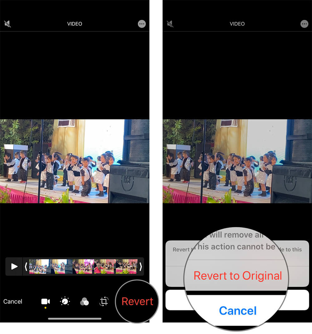 Tap on Revert bring audio back in Video on iPhone