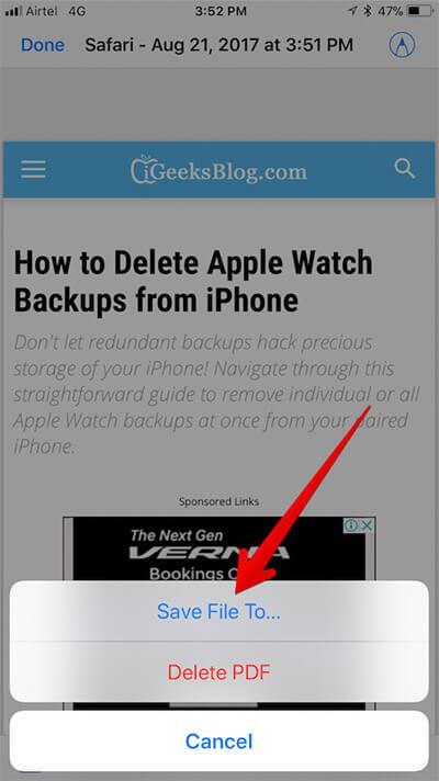 Tap on Save File to in Safari on iPhone