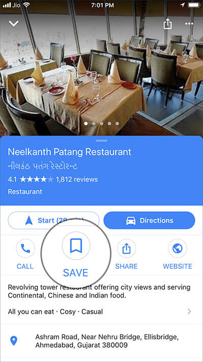 Tap on Save in Google Maps App