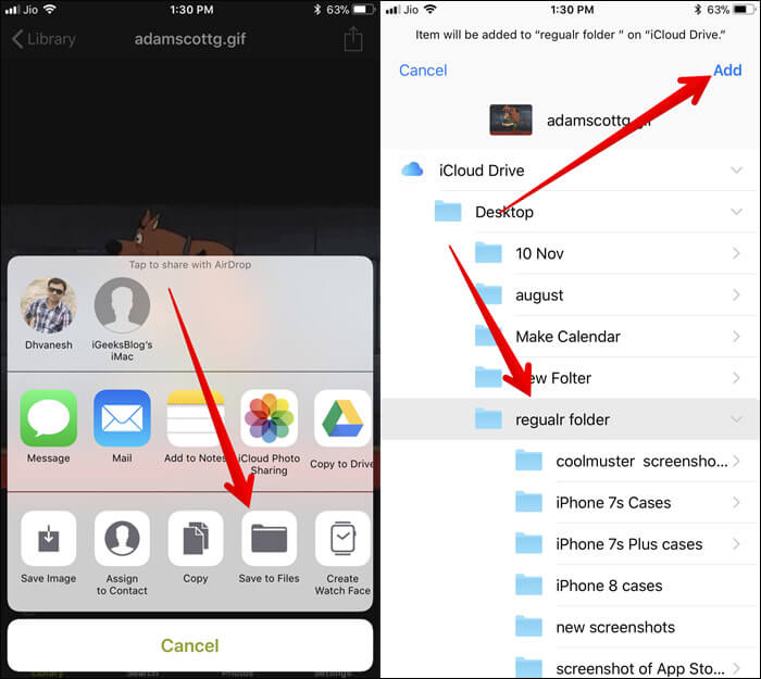 Tap on Save to Files in iPhone Widget then Select folder and tap on Add