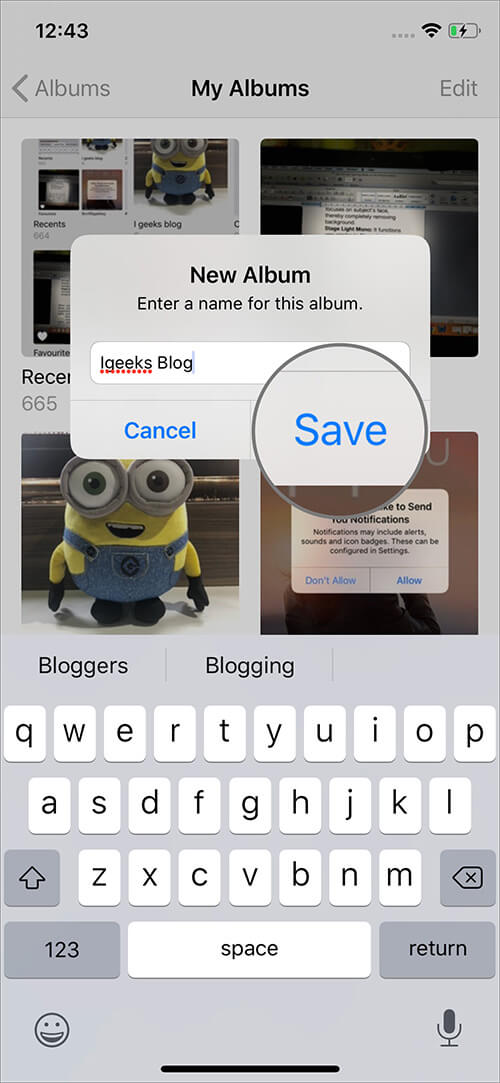 Tap on Save to Make A New Album in iOS 13 Photos App on iPhone