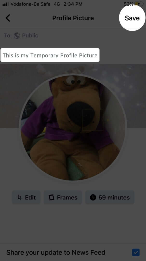 Tap on Save to Set Temporary Profile Picture for Facebook on iPhone
