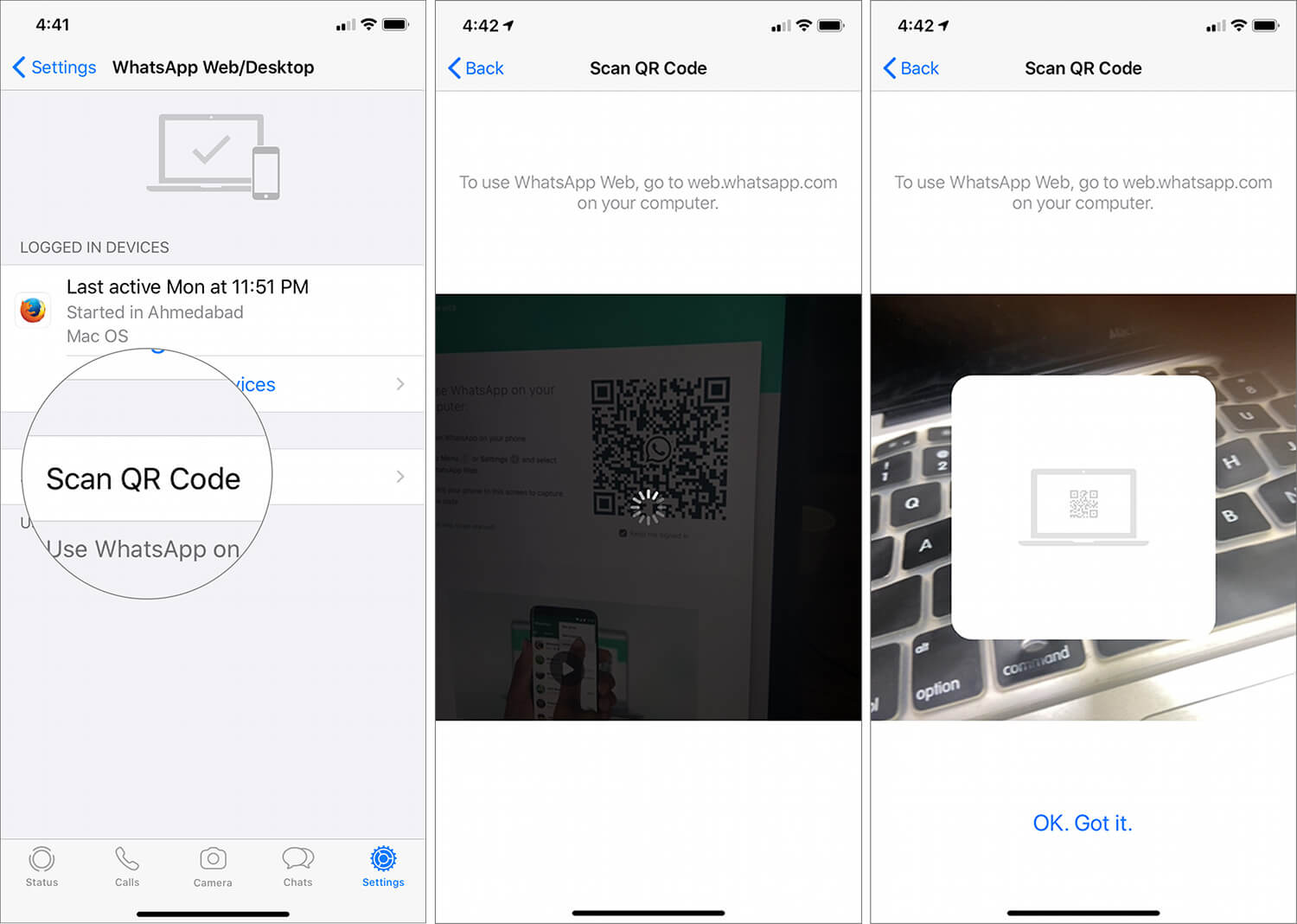 Tap on Scan QR Code on iPhone then scan the QR code on your iPad