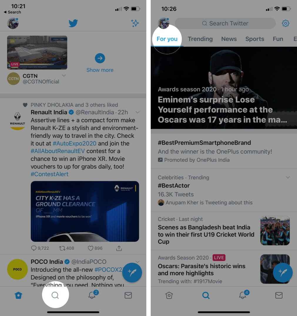 Tap on Search and Then Tap For You in Twitter App on iPhone