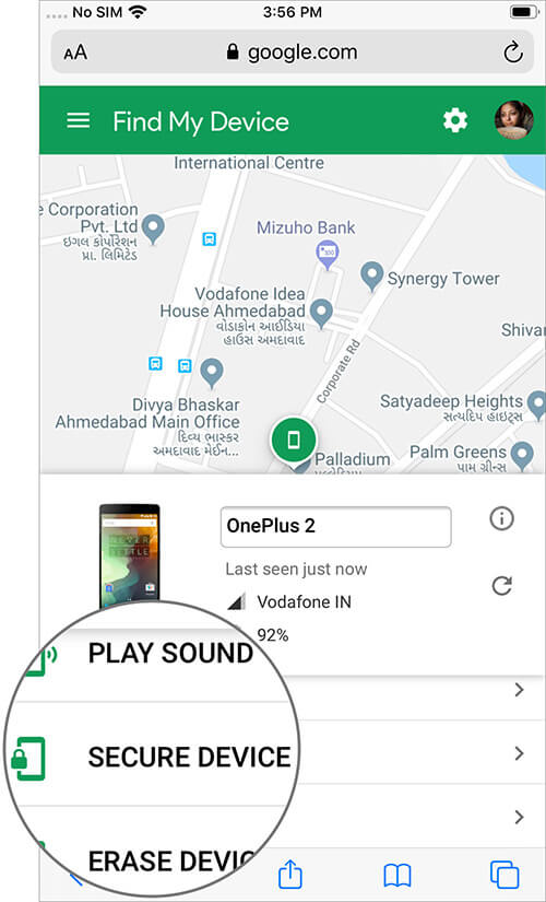 Tap on Secure Device Option on Android Device Page on iPhone