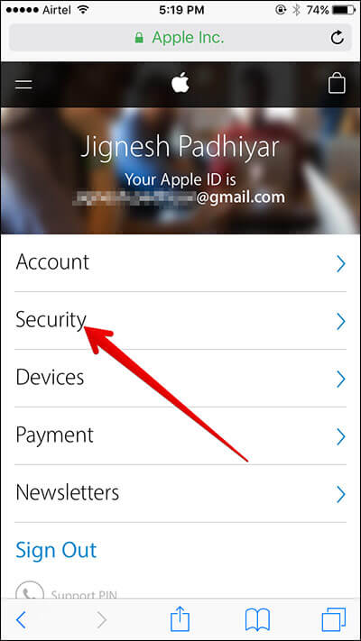 Tap on Security in Apple ID on iPhone