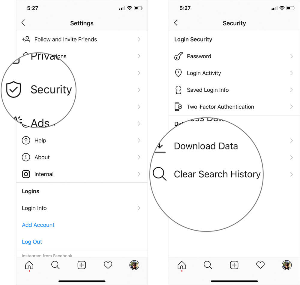 Tap on Security then Clear Search History in Instagram on iPhone or Android Phone