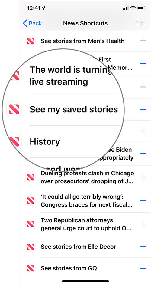 Tap on See my saved stories in Apple News app settings