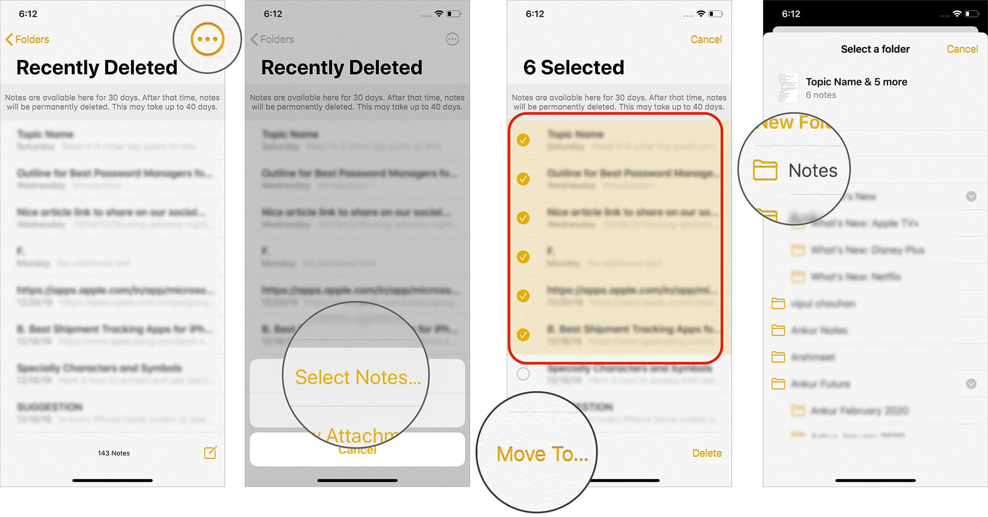 Tap on Select Notes to Restore Multiple Notes on iPhone
