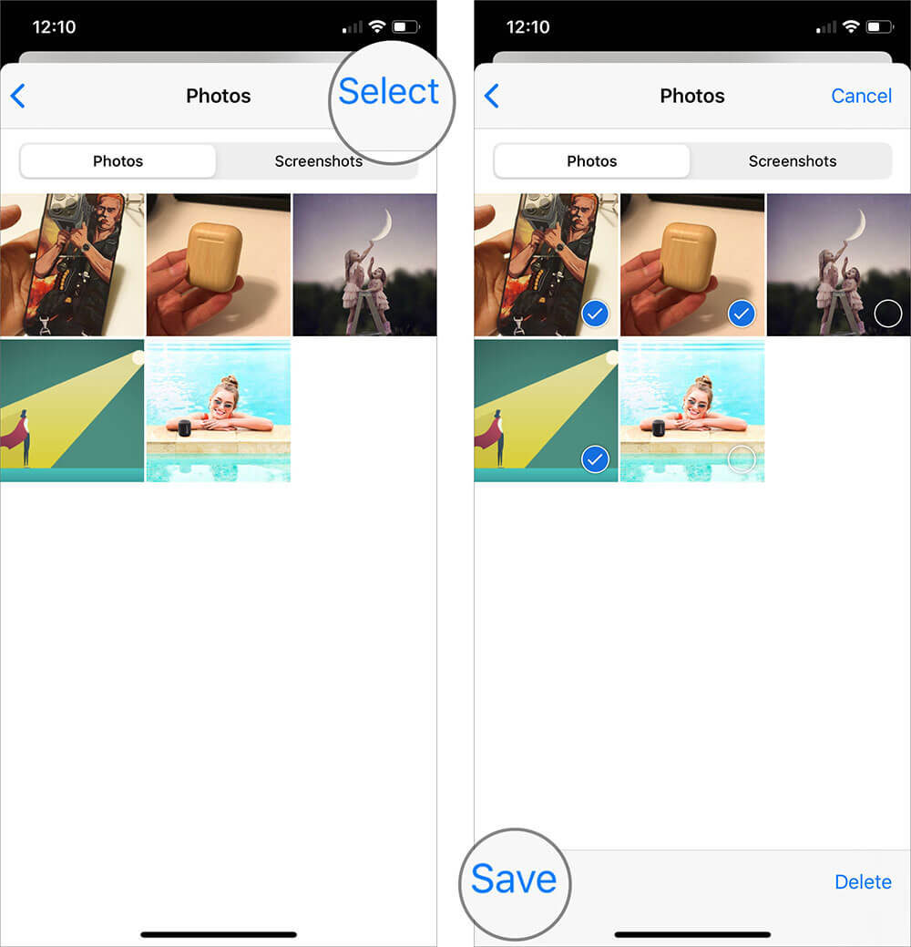 Tap on Select then select multiple images by touching them to Save in iphone