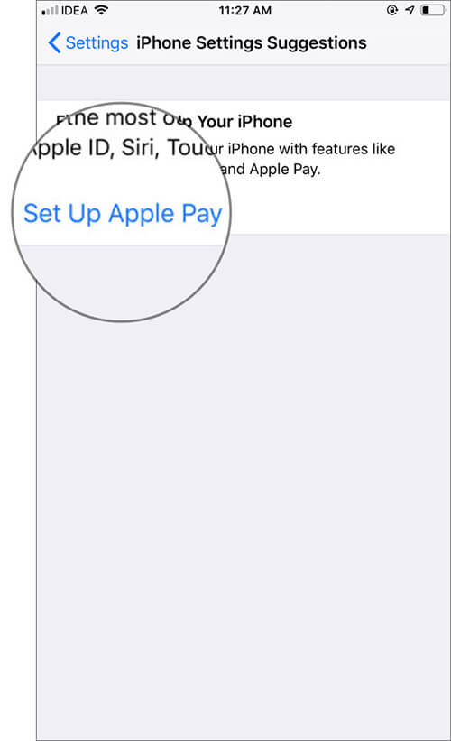 Tap on Set Up Apple Pay Under Finish Settings Prompt