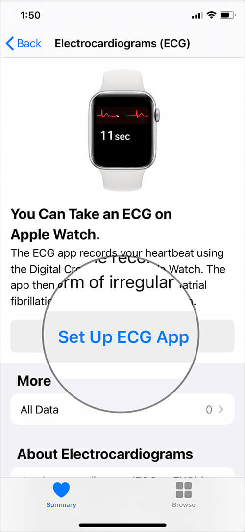 Tap on Set Up ECG App in iOS Health App to Use on Apple Watch Series 4 or 5
