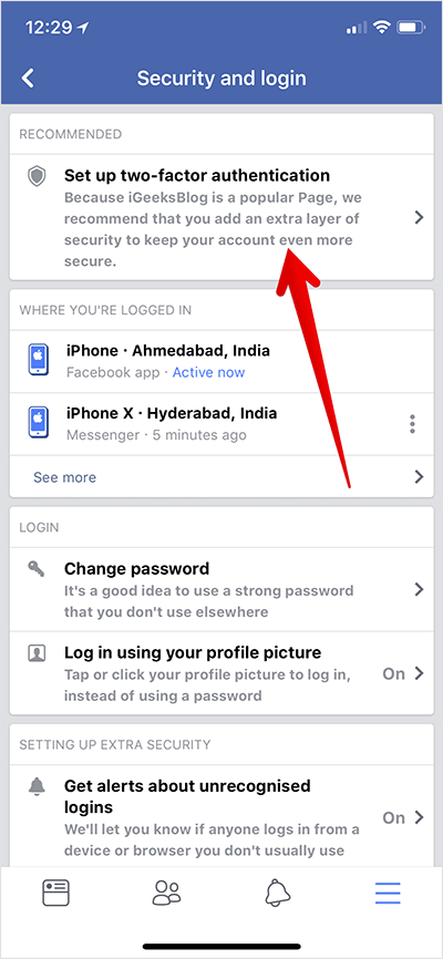 Tap on Set up two-factor authentication in Facebook on iPhone