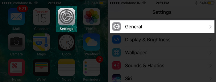 Tap on Settings Then General on iPhone 7