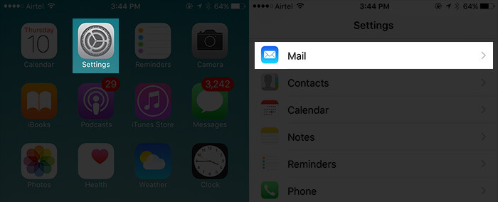 Tap on Settings Then Mail on iPhone