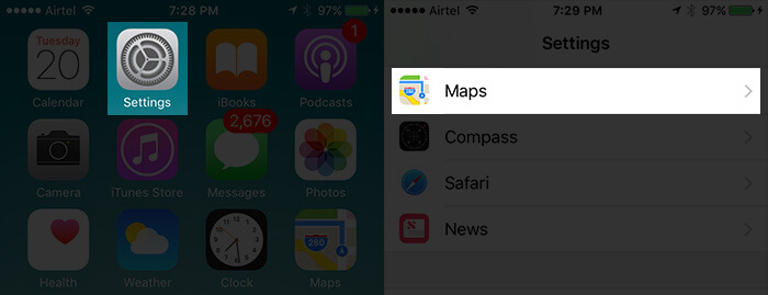 Tap on Settings Then Maps in iOS 10 on iPhone