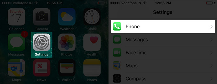 Tap on Settings Then Phone App in iOS 10 on iPhone