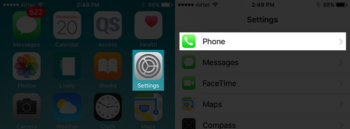 Tap on Settings Then Phone on iPhone