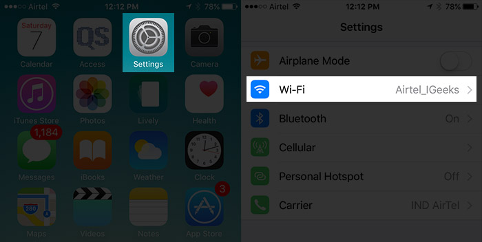 Tap on Settings Then Wi-Fi on iPhone