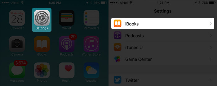 Tap on Settings Then iBooks on iPhone