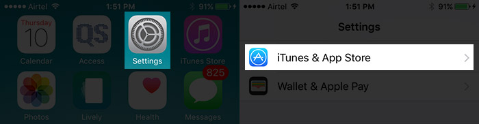 Tap on Settings Then iTunes & App Store on iPhone