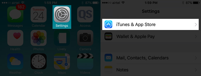 Tap on Settings Then iTunes and App Store