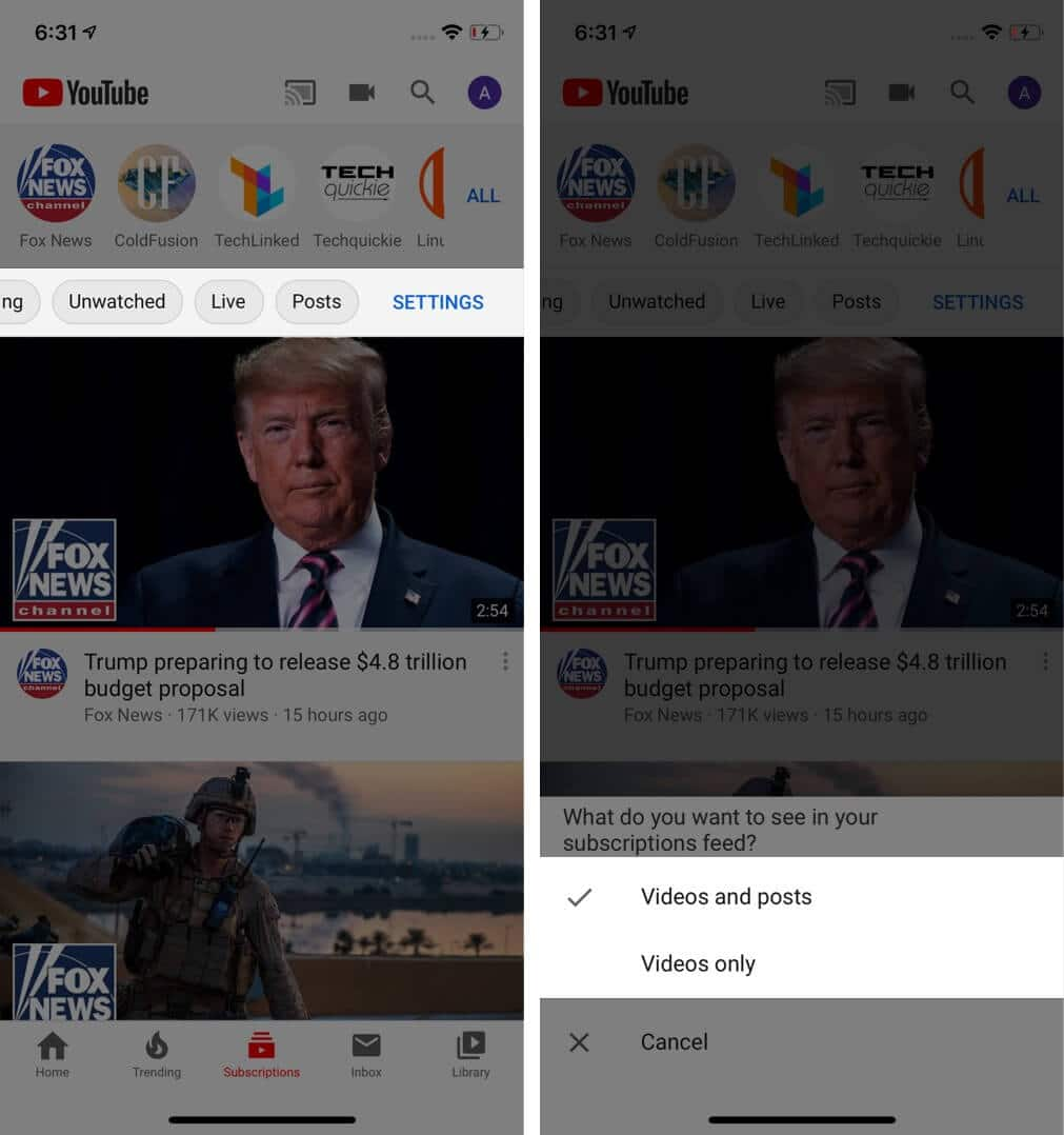 Tap on Settings and Choose Preferred Option in YouTube App on iPhone