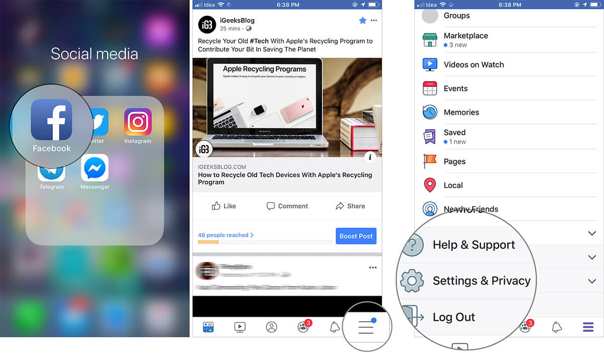 Tap on Settings and Privacy in Facebook app