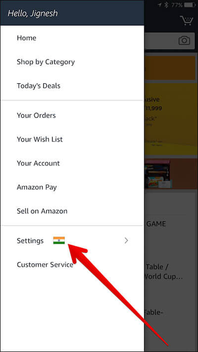 Tap on Settings in Amazon App on iPhone