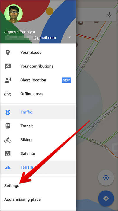 Tap on Settings in Google Maps on iPhone