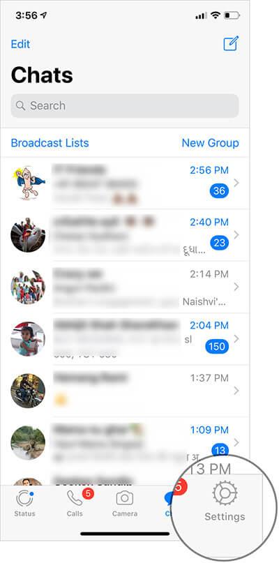 Tap on Settings in WhatsApp