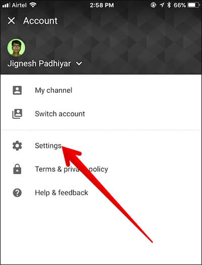 Tap on Settings in YouTube App on iPhone