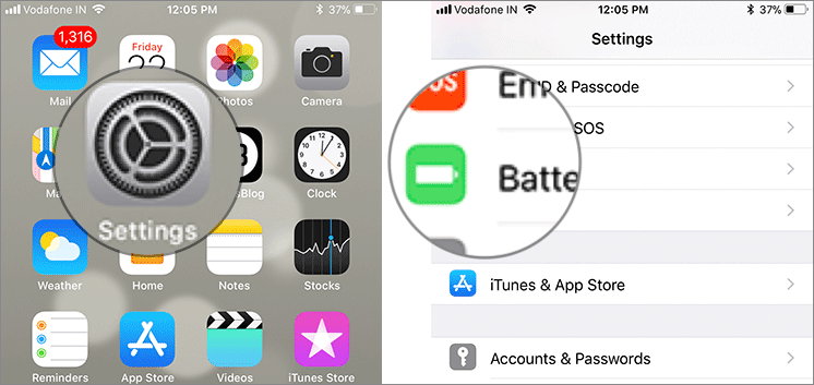 Tap on Settings then Battery on iPhone