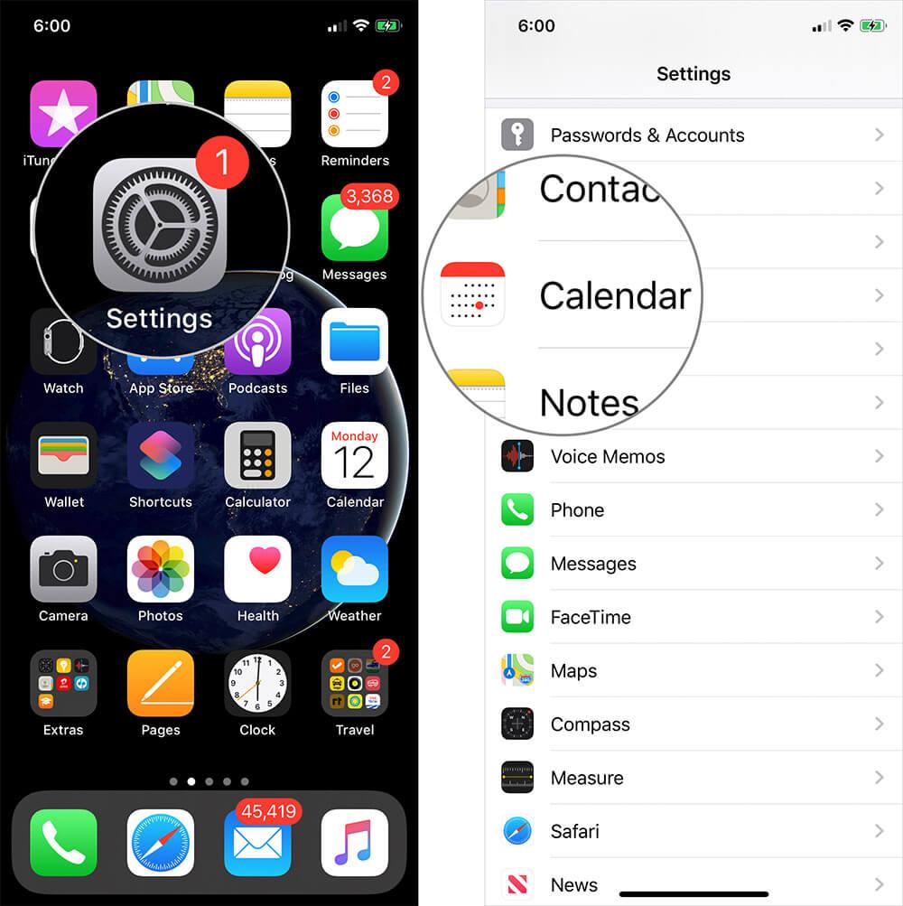 Tap on Settings then Calendar on iPhone or iPad