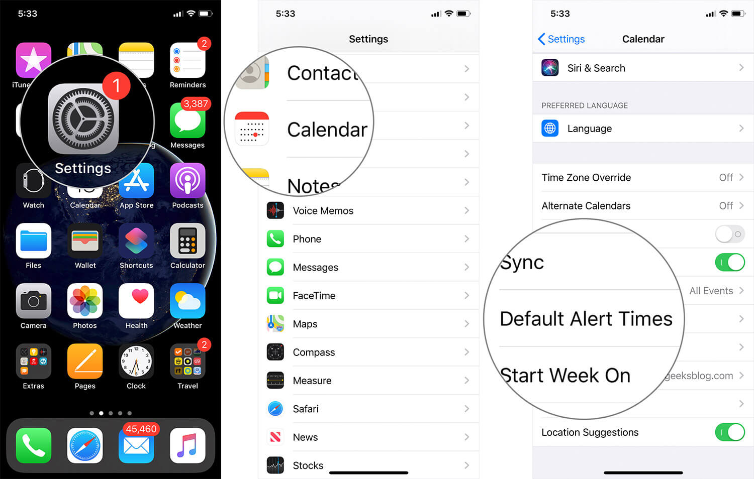 Tap on Settings then Calendar then Alert Times on iPhone or iPad