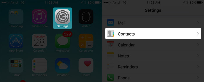 Tap on Settings then Contacts on iPhone