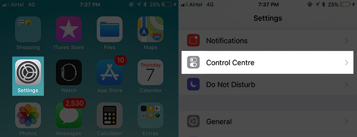 Tap on Settings then Control Center on iPhone in iOS 11
