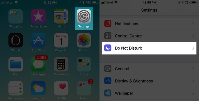Tap on Settings then Do Not Disturb on iPhone