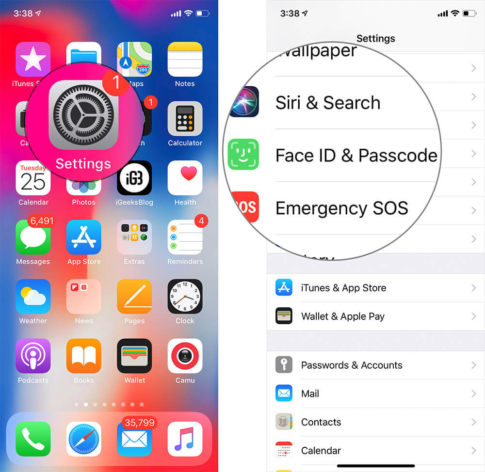 Tap on Settings then Face ID and Passcode on iPhone