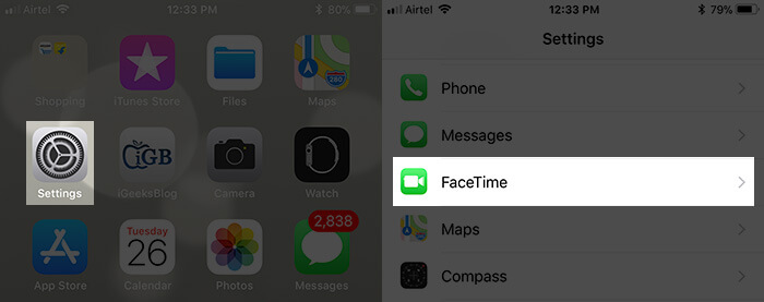 Tap on Settings then FaceTime on iPhone in iOS 11