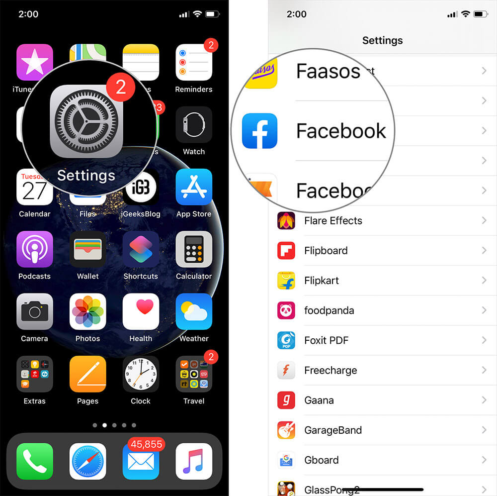Tap on Settings then Facebook on iPhone or iPad