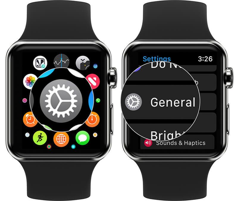 Tap on Settings then General on Apple Watch
