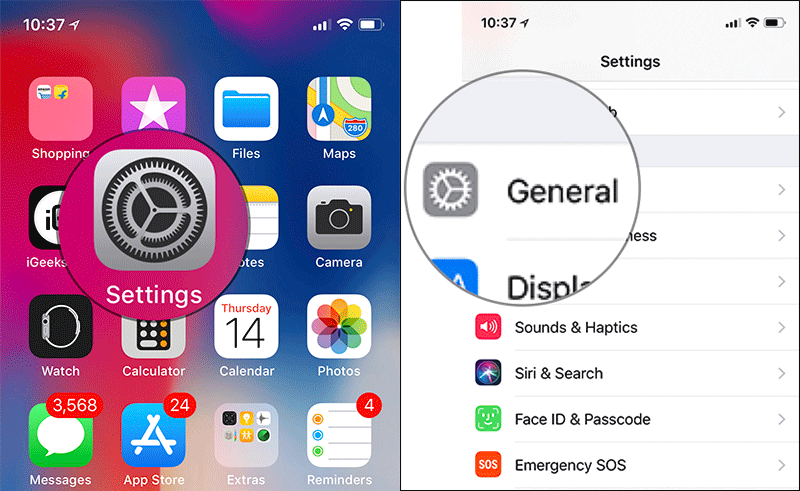 Tap on Settings then General on iPhone X, 8, or 8 Plus