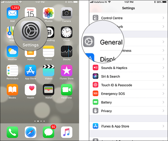 Tap on Settings then General on iPhone or iPad
