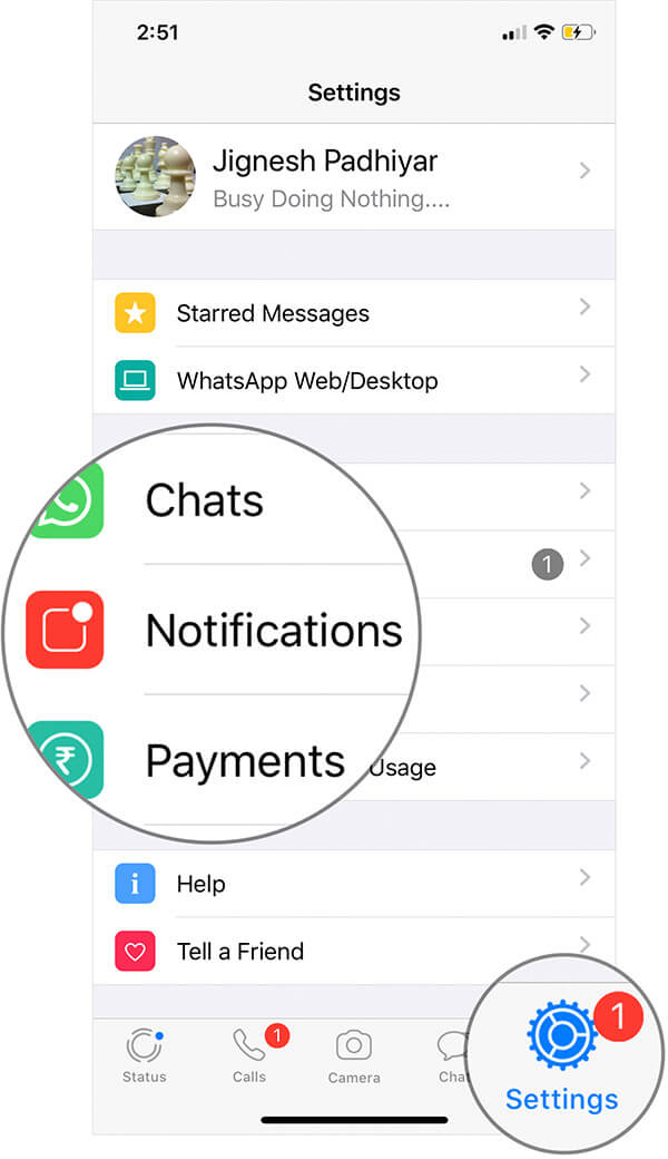 Tap on Settings then Notifications in WhatsApp on iPhone