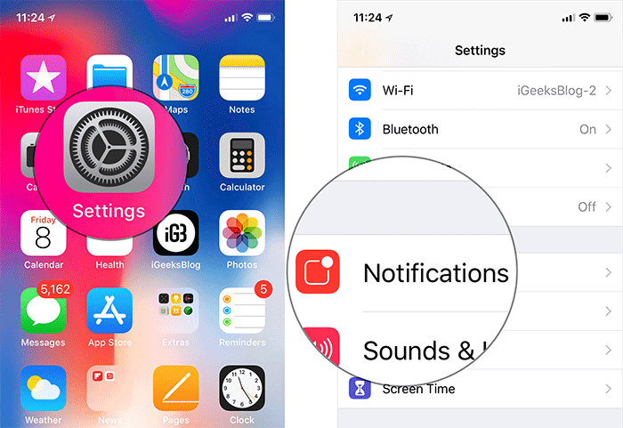 Tap on Settings then Notifications in iOS 12 on iPhone